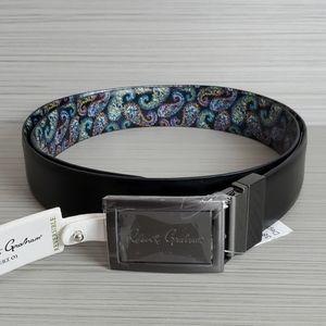 Robert Graham Mens Paisley Embossed Reversible Leather Belt Black//Brown $98